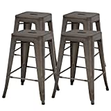 FDW Metal Bar Stools Set of 4 Counter Height Barstool Stackable Barstools 24 Inch 30 Inch Indoor Outdoor Patio Bar Stool Home Kitchen Dining Stool Backless Bar Chair (24', Gun)