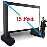 15' Inflatable Outdoor Projector Movie Screen -Package with Rope, Blower + Tent Stakes - XHYCPY Inflatable Projection Movies Screens Great for Outdoor Backyard Pool Fun (15feet)