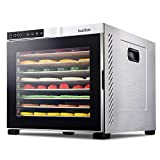Ivation 10 Tray Commercial Food Dehydrator Machine   1000w, Digital Adjustable Timer and Temperature Control   Dryer for Jerky, Herb, Meat, Beef, Fruit and To Dry Vegetables   Stainless Steel