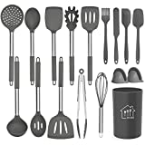 Silicone Cooking Utensil Set,Kitchen Utensils 17 Pcs Cooking Utensils Set,Non-stick Heat Resistant Silicone,Cookware with Stainless Steel Handle - Grey