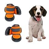 Dog Shoes Dog Boots Snow Dog Booties Dogs Paw Protection with Anti-Slip Sole, Dog Snow Socks for Beagle, Small Bulldog, Cocker Spaniel, Corgi (4 PCS)