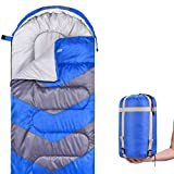 Abco Tech Sleeping Bag - Envelope Lightweight Portable, Waterproof, Comfort with Compression Sack - Great for 4 Season Traveling, Camping, Hiking, & Outdoor Activities. (Single)