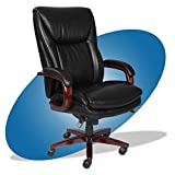 La-Z-Boy Edmonton Big and Tall Executive Office Chair with Comfort Core Cushions, Solid Wood Arms and Base, Waterfall Seat Edge, Bonded Leather, Big & Tall, Black