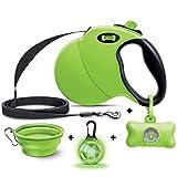 Ruff 'N Ruffus 360° Tangle-Free 16 ft Retractable Dog Leash + Free Travel Bowl + Free Waste Bag Dispenser & 15 Bags + Free LED Charm | Reflective Tape Easy Lock Anti Slip Handle