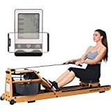 gorowingo Water Rower Rowing Machine, Wooden Row Machine with LCD Monitor & Phone Holder for Home Use Indoor Full Body Exercise