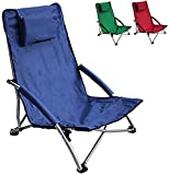 HJ HELLO JOURNEY Low Sling Beach Chair Folding Dark Blue