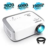 Projector, DracoLight 2020 6000 Lux Video Projector 50000 Hours Lamp Life Support 1080P Full HD, Compatible with Fire TV Stick, PS4, HDMI, VGA, AV and USB for Home Theater, Office Presentations