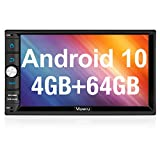 Vanku Android 10 Car Stereo Double Din with 64G+4G RAM PX6, GPS, WiFi, Support Android Auto, Backup Camera, USB SD, 7 Inch Touch Screen