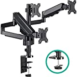 EleTab Triple Monitor Stand Mount - Full Motion Swivel 3 Monitor Desk Mount Stand Articulating Gas Spring Arms Fits Computer Screens 13 to 32 inches, Each Arm Holds up to 15.4 lbs