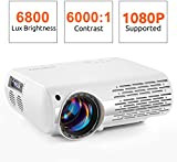 Crenova Video Projector, 6800 Lux Home Movie Projector(550 ANSI), 200'' Display HD LED Projector 1080P Supported, Work with iPhone, Android, PC, Mac, TV Stick, HDMI, USB for Home Theater Projector