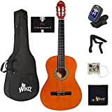 WINZZ 39 Inches Classical Guitar Full Size Beginner Acoustic with Online Lessons Bag Capo Tuner Strings