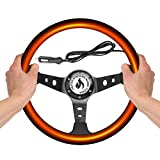 Vermo Heated Steering Wheel Cover Steering Wheel Heater Steering Wheel Cover 12V Auto Steering Wheel Black Protector Cover with Heater Heated Steering Wheel Cover for Cars