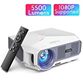 Projector, COOAU 5500 Lumens Home Video Projector, Support 1080P and 200' Screen Playing with Hi-Fi Speakers, Compatible with TV Stick / Phone/ Laptop/ DVD Player /PS4