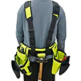 BHTOP Tool Belt Bag, Combo Apron Tool Bags and Suspenders, Professional Comfort Rig,Adjustable System Work Gear in Yellow