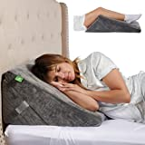 Cushy Form Wedge Pillows for Sleeping - Memory Foam Bed Support Rest for Back, Neck & Post-Surgery Support, Snoring Relief - Gray