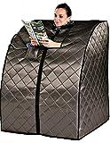 Sauna Portable Infrared FAR Carbon Fiber Panels - Wired Remote Control - Max Heat 150 Degrees - Heated Foot Pad - Negative Ion Generation - Rejuvenator Model SA6310-bw