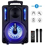 Karaoke Machine, ENKLOV Portable Wireless Karaoke Bluetooth Speaker System, 2 Microphones Sing Karaoke Machine for Kids & Adults, Work with MP3 USB Micro SD FM Radio in AUX Wheel, Light Sync to Music
