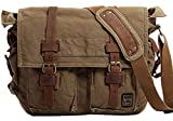 Vintage Military Men Canvas 14.7Inch Laptop Messenger Bag Travel Shoulder Bags