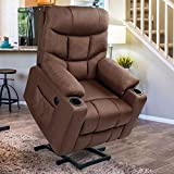 Esright Power Lift Chair Electric Recliner for Elderly Heated Vibration Massage Fabric Sofa Motorized Living Room Chair with Side Pocket and Cup Holders, USB Charge Port & Remote Control, Brown