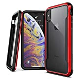 X-Doria iPhone X, iPhone Xs Case, Defense Shield - Military Grade Drop Tested, Anodized Aluminum, TPU, and Polycarbonate Protective Case for Apple iPhone X, Xs, 10 [Red]