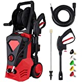 Electric Pressure Washer 3500PSI 2.6GPM High Power Washer with 32ft Cable and 5 Quick-Connect Spray Nozzles for Cleaning Homes, Cars, Decks, Driveways, Patios (Red)