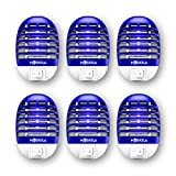 MOSKILA Electronic, Bug Zaper Indoor, Frit Fly Trap, Frit Fy Killer with Blue Light, Safe - Non-Toxic - Silent - Effective Operation UV Insect Killer (6 Packs)