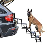 Upgraded Nonslip Car Dog Steps, Portable Metal Fram Large Dog Stairs for High Beds, Trucks, Cars and SUV, Lightweight Folding Pet Ladder Ramp with Wide Steps can Support 150 Lbs Large Dogs (4 steps)