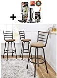 by Mainstay Mainstays Adjustable-Height Swivel Barstool, (Tan Brown, Adjustable-Height Swivel)