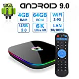 Android 9.0 TV Box, Q Plus Android TV Box 4GB DDR3 64GB EMMC 2.4G WiFi Quad Core 3D 6K Ultra HD H.265 USB3.0 Android Boxes