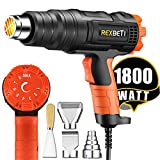 REXBETI 1800W Variable Temperature Heat Gun, 140℉-1210℉(60℃-654℃) High Power Hot Air Gun, Ergonomic Body Design, 3 Nozzle Attachments, Fast Heating In Seconds, No Smoke Issue, Perfect for Home Jobs