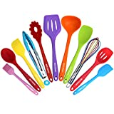 Kitchen Utensil Set - 11 Cooking Utensils - Colorful Silicone Kitchen Utensils - Nonstick Cookware with Spatula Set - Colored Best Kitchen Tools Kitchen Gadgets