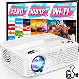 WiFi Projector, Full HD Native 1080P Projector 7500Lumens LCD Projector for Outdoor Movies, Wireless Mirroring/4K/Smartphone/TV Stick/HDMI/USB Supported [120' Projector Screen Included]