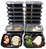 Misc Home [20 Pack] 32 Oz Two Compartment Meal Prep Containers BPA-Free [Black]