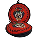 10' Day of the Dead Lady Roses Tortilla Warmer proven to Keep Tortillas FRESH AND WARM FOR OVER 1 HOUR! Insulated tortilla pouch keeps corn & flour tortillas warm from the skillet, pan, grill or micro