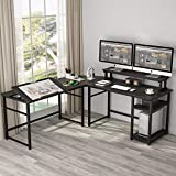 Tribesigns L-Shaped Computer Desk with Monitor Stand Riser, 70.8 inches Corner Computer Desk Study Writing Workstation Drafting Table with Tiltable Drawing Board for Home Office Use (Oak)