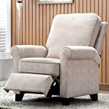 ANJ Recliner Chair Roll Arm Push Back Recliner with Back Cushion for Living Room (Cream)