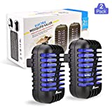 ANCROWN Bug Zapper Mosquito Killer, 2 Packs Indoor Plug-in Electric Insect Repellent with UV Light, Power Portable Odorless Noiseless Fly Killer for Mosquitoes Fruit Flies and Flying Gnats (Black)