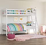 Storkcraft Caribou Solid Hardwood Twin Bunk Bed with Ladder and Safety Rail, White