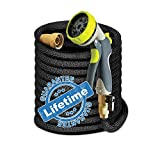 Elk & Bear Expandable Garden Hose w/Spray Nozzle Brass Fitting Flexible No Kink Lightweight Portable Water Hose. Best for Gardening RV Accessories (100 ft)