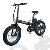 ECOTRIC 20' New Fat Tire Folding Electric Bike Beach Snow Bicycle ebike 500W Electric Moped Electric Mountain Bicycles … (Black and Blue)