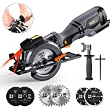 """TACKLIFE Circular Saw with Metal Handle, 6 Blades(4-3/4' & 4-1/2""""), Laser Guide, 5.8A, Max Cutting Depth 1-11/16'' (90°), 1-3/8'' (45°), Ideal for Wood, Soft Metal, Tile and Plastic Cuts - TCS115A"""