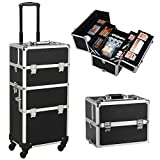 Yaheetech 3 in 1 Cosmetic Rolling Makeup Train Case Large Aluminum Trolley Makeup Travel Case Black
