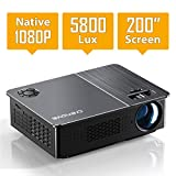 Native 1080P Projector, Crenova HD Video Projector, 5800 Lux LED Movie Projector with 200' Display, Compatible with TV Stick, HDMI, VGA, USB, iPad, PC, Xbox, iPhone for Home Theater Entertainment