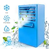 Air Conditioner Fan, Personal Air Cooler Portable Desktop Fan 3 Speed Mini Misting Evaporative Circulator Humidifier Noiseless Purifier for Room Office Desk Nightstand Dorm -Small 9.5-inch (Blue)