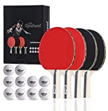 Upstreet Ping Pong Paddle Set Includes 4 Ping Pong Paddles with 3 Star Ping Pong Balls for Table Tennis