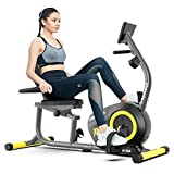 pooboo Magnetic Recumbent Bike Indoor Cycling Bike Exercise Bike Stationary Bicycle with Pulse Monitor, Adjustable Seat, and Ipad Holder (Yellow)