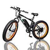 ECOTRIC Fat Tire Electric Bike Beach Snow Bicycle 26' 4.0 inch Fat Tire ebike 500W 36V/12AH Electric Mountain Bicycle with 7 Speeds Lithium Battery Black/Orange/Blue (Orange)
