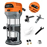Enertwist Compact Router Tool, 7.0-Amp 1.25HP Soft Start Variable Speed Wood Router Kit w/Fixed Base, 1/4' & 3/8' Collets, Edge Guide, Roller Guide, Dust Hood, Replacement Brush Set, ET-RT-710S
