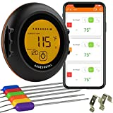 Premium Digital Wireless Meat Thermometer - with 6 Probes, Bluetooth, WiFi, Timer, Alarm & Strong Magnets - Perfect for Cooking BBQ, Grill, Food Smoker, Oven & Kitchen