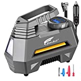 HAUSBELL Portable air Compressor for Car Tires, 12V DC Air Compressor tire inflator Pump, 150 PSI with Emergency LED Flashlight for Car, Motorcycles, Bicycles, Inflatables
